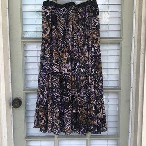 Lane Bryant tiger/purple 4 tier maxi dress